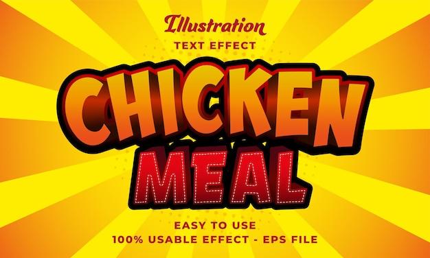 Effetto testo vettoriale modificabile del pasto di pollo con un design in stile moderno