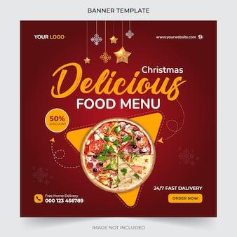 Modello di post sui social media con banner menu cibo natalizio modificabile per la promozione