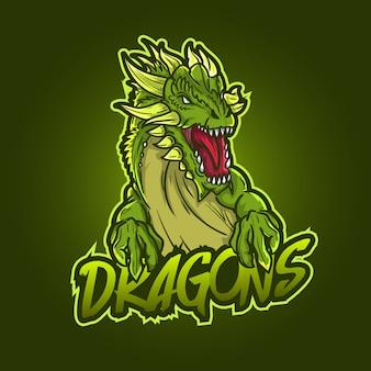 Design del logo della mascotte sportivo modificabile e personalizzabile, gioco di draghi con logo esports