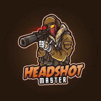 Design del logo mascotte sportivo modificabile e personalizzabile, esports logo headshot master gaming