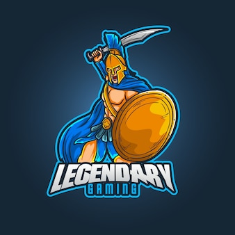 Design del logo della mascotte sportivo modificabile e personalizzabile, logo esports da gioco leggendario