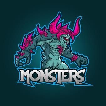 Design del logo della mascotte sportivo modificabile e personalizzabile, esports logo mostri di gioco