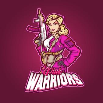 Design del logo della mascotte dello sport modificabile e personalizzabile, guerrieri rosa logo esports
