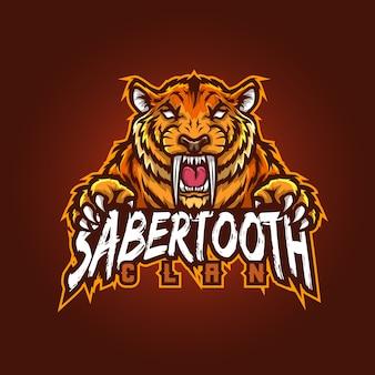 Design del logo della mascotte sportivo modificabile e personalizzabile, esports logo sabertooth gaming