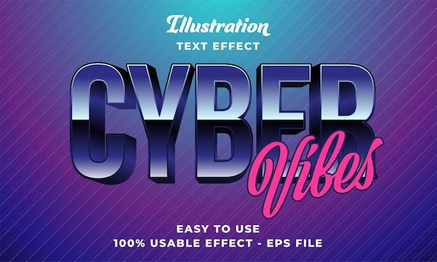Effetto di testo vettoriale modificabile delle vibrazioni cyber con un design in stile moderno