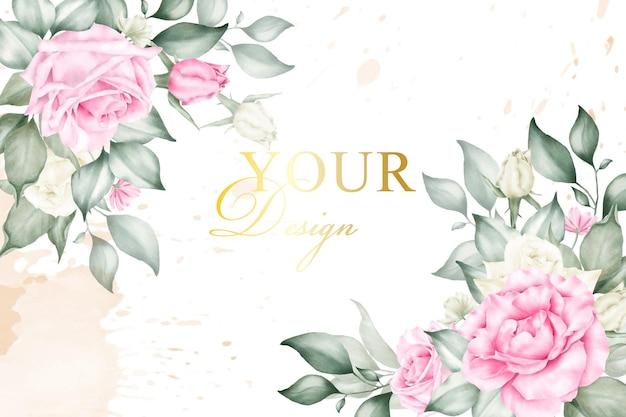 Sfondo di composizione floreale modificabile per invito a nozze