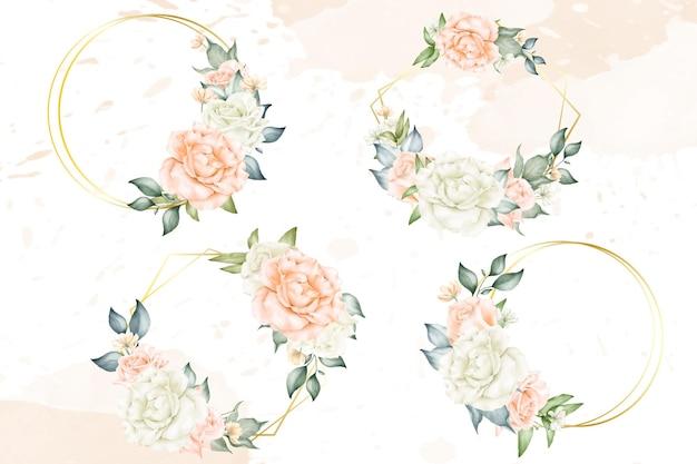 Collezione di cornici floreali modificabili per invito a nozze