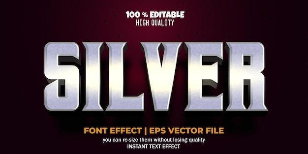 Stile di testo argento effetto carattere modificabile