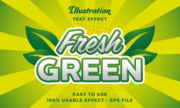 Effetto di testo vettoriale verde fresco modificabile con stile moderno