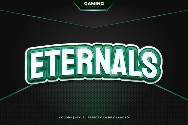 Stile di testo di gioco modificabile con concetto bianco e verde ed effetto curvo per il nome o l'identità della squadra di e-sport