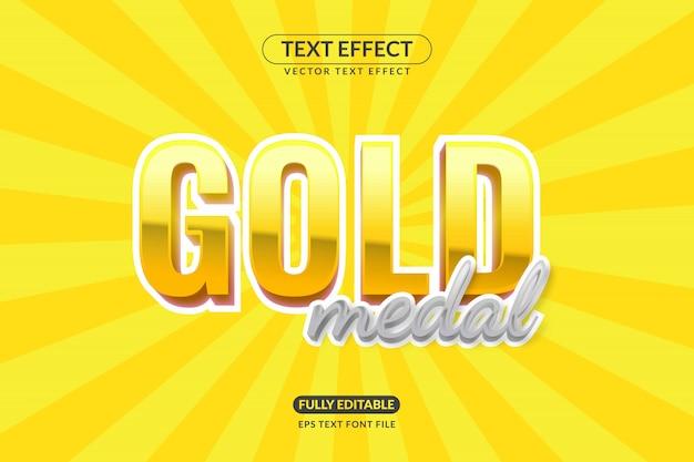 Effetto testo medaglia d'oro modificabile Vettore Premium
