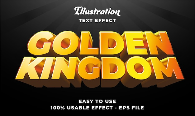Effetto di testo vettoriale modificabile del regno d'oro con stile moderno