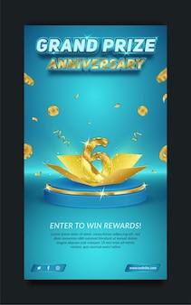 Anniversario del gran premio modificabile blu e oro, modello di storia dei social media