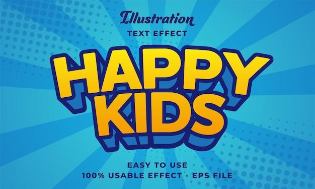 Effetto di testo vettoriale modificabile per bambini felici con uno stile moderno