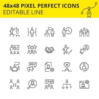 Icone modificabili per processi aziendali e lavoro di gruppo