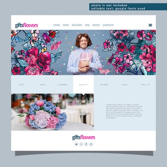 Modello di pagina di destinazione modificabile con fiori astratti alla moda. moderno concetto floreale per lo sviluppo del sito web
