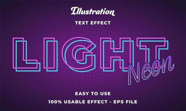 Effetto di testo vettoriale al neon chiaro modificabile con stile moderno