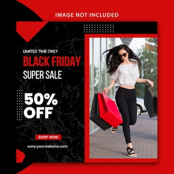 Modificabile moderno modello di post sui social media e banner del sito web per la vendita del venerdì nero