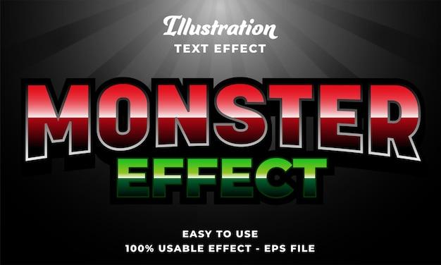 Effetto di testo vettoriale modificabile effetto mostro con stile moderno