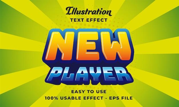 Effetto di testo vettoriale modificabile del nuovo giocatore con stile moderno