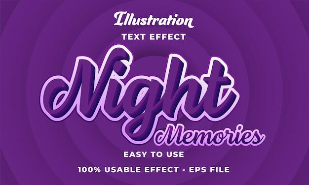 Effetto di testo vettoriale modificabile dei ricordi notturni con uno stile moderno