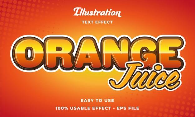 Effetto testo modificabile succo d'arancia vettore stile moderno