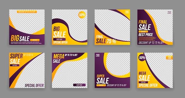 Banner di modelli di post modificabili per app mobili sui social media di vendita