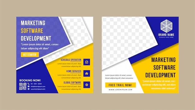 Modelli di post modificabili social media banners for marketing software development company.