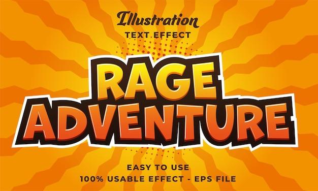 Effetto di testo vettoriale modificabile avventura rabbia con stile moderno