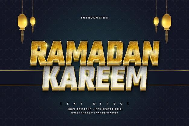 Testo modificabile ramadan in stile oro e argento con effetto texture
