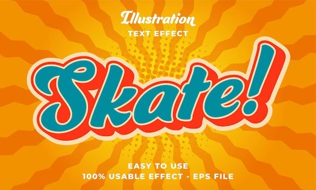 Effetto di testo vettoriale modificabile da skate retrò con design in stile moderno