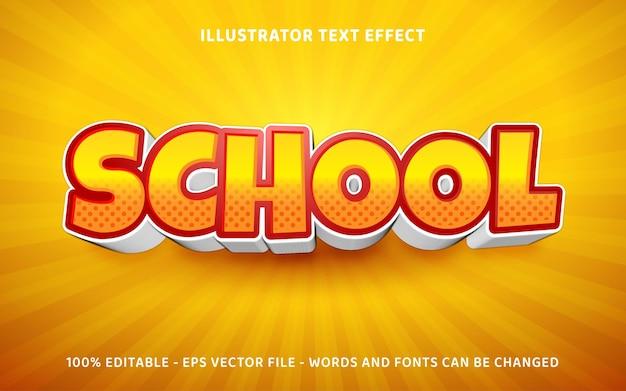 Effetto di stile di testo 3d della scuola modificabile