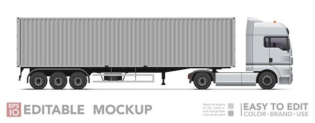 Semi camion modificabile. trattore realistick & rimorchio per container iso su sfondo bianco.