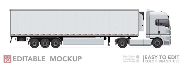 Semi camion modificabile. trattore realistick e rimorchio refrigerato su sfondo bianco.