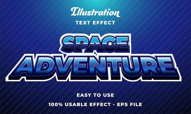 Effetto di testo vettoriale modificabile avventura spaziale con stile moderno