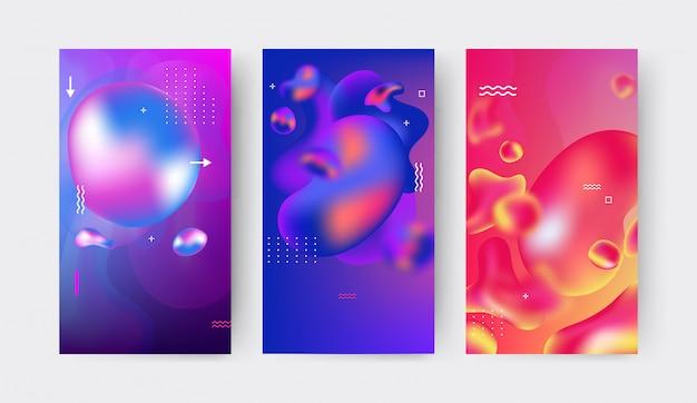 Collezione di modelli di storie modificabili con spruzzi di gradiente liquido ondulato