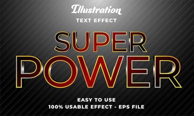 Effetto di testo vettoriale modificabile super potere con stile moderno