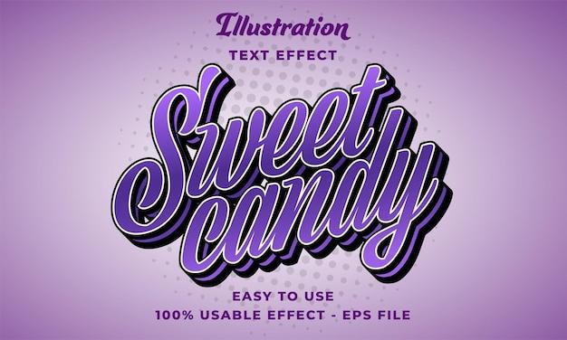 Effetto di testo vettoriale modificabile di caramelle dolci con un design in stile moderno