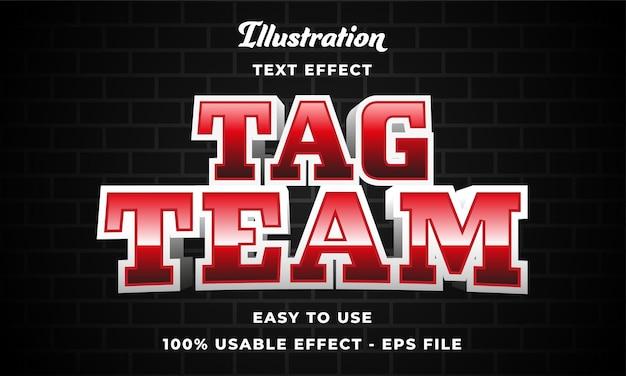 Effetto di testo vettoriale modificabile tag team con design in stile moderno