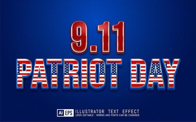 Testo modificabile 9.11 patriot day adatto per banner festa nazionale