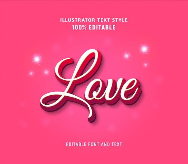 Testo modificabile sull'amore in stile moderno di colore rosa e scintillii.
