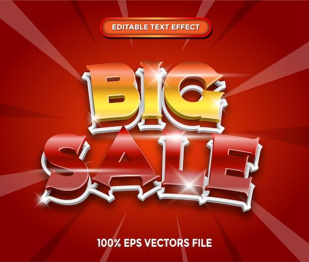 Testo modificabile grande vendita con effetto stile 3d vettore premium