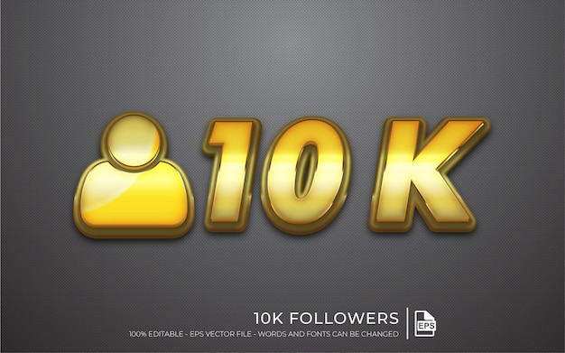 Effetto di testo modificabile, 10.000 follower