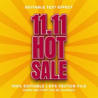 Effetto testo modificabile - 11.11 vettore premium in stile modello di vendita calda