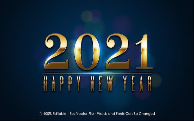 Effetto testo modificabile, stile felice anno nuovo 2021