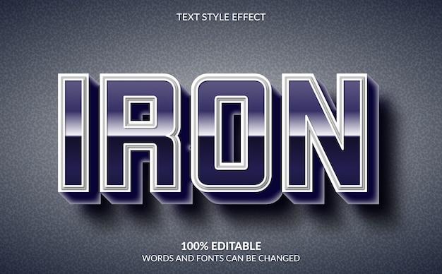Effetto di testo modificabile, stile di testo 3d in ferro