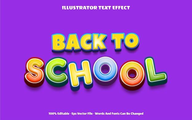 Effetto testo modificabile torna a scuola illustrazioni in stile 3d