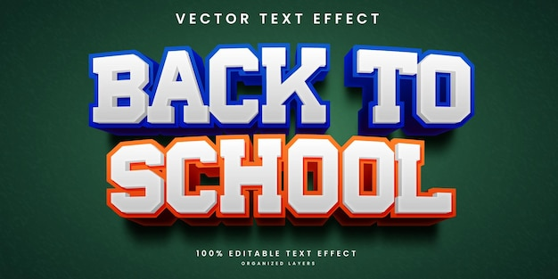 Effetto di testo modificabile nel vettore premium stile back to school