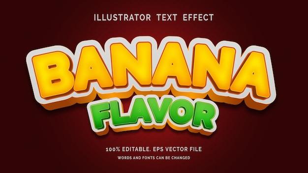 Effetto testo modificabile stile sapore banana banana