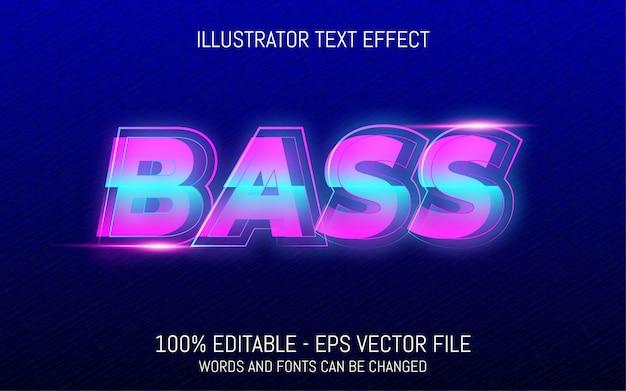 Effetto di testo modificabile, illustrazioni in stile neon bass